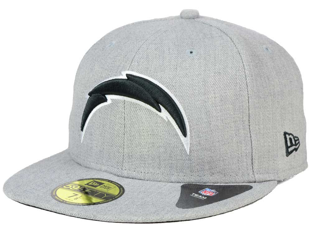 Los Angeles Chargers New Era NFL Heather Black White 59FIFTY Cap ... ea5c33b936a