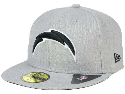 San Diego Chargers New Era NFL Heather Black White 59FIFTY Cap