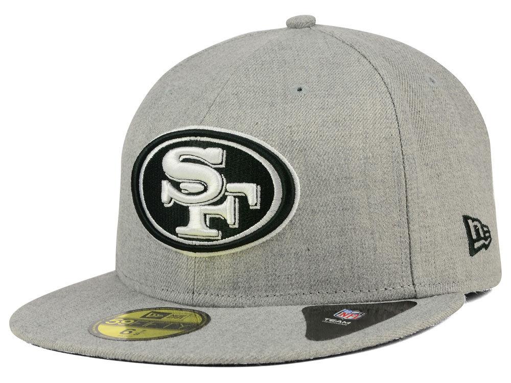 San Francisco 49ers New Era NFL Heather Black White 59FIFTY Cap ... 342c47051