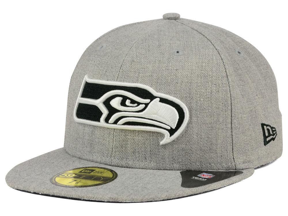 Seattle Seahawks New Era NFL Heather Black White 59FIFTY Cap  a27a21754