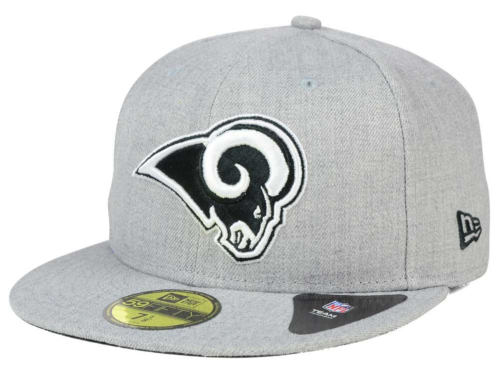 Los Angeles Rams New Era NFL Heather Black White 59FIFTY Cap  369e0818f2c6