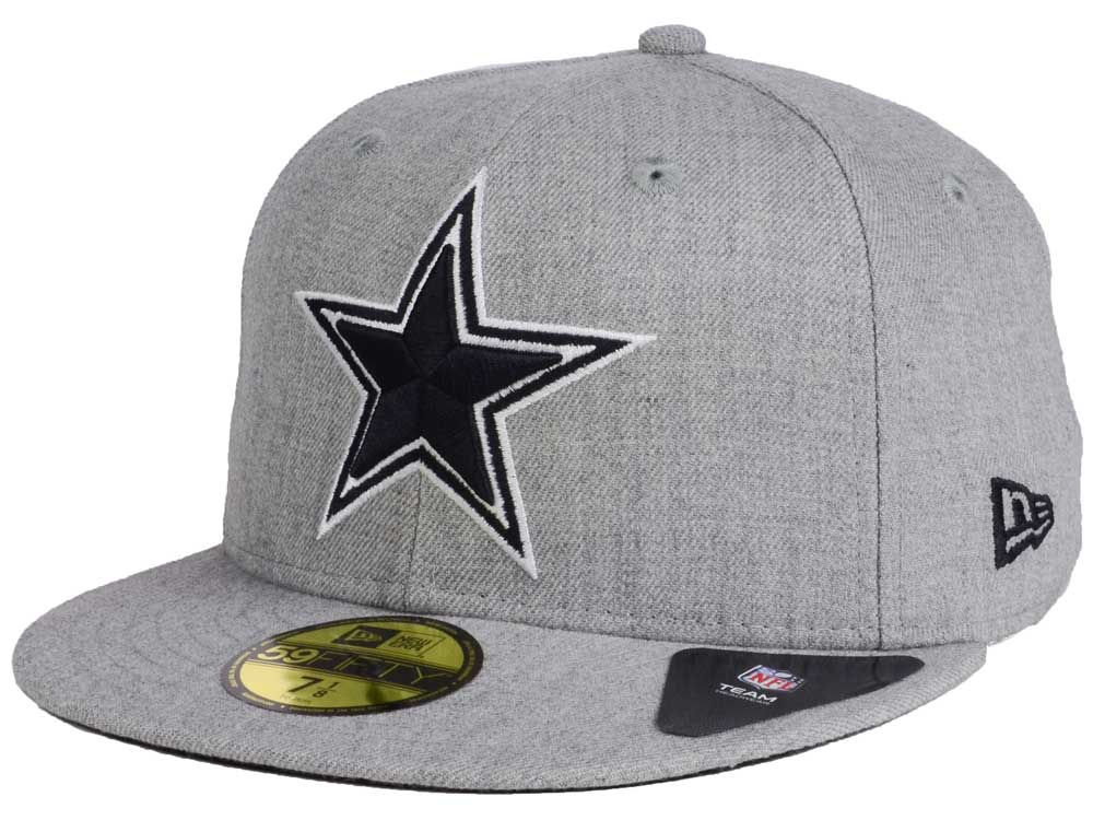 Dallas Cowboys New Era NFL Heather Black White 59FIFTY Cap 83c603bd610