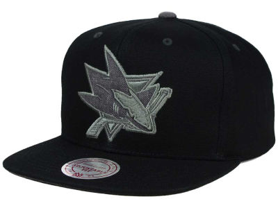 San Jose Sharks Mitchell and Ness NHL Grey Tonal Logo Snapback Cap