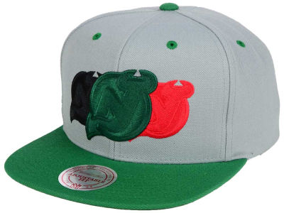 New Jersey Devils Mitchell and Ness NHL Triple Color Stack Snapback Cap