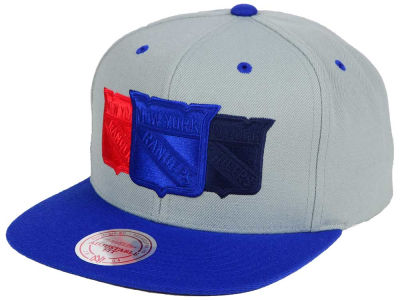 New York Rangers Mitchell and Ness NHL Triple Color Stack Snapback Cap
