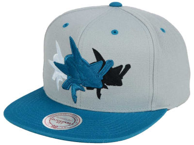 San Jose Sharks Mitchell and Ness NHL Triple Color Stack Snapback Cap