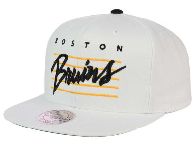 Boston Bruins Mitchell and Ness NHL Cursive Script Cotton Snapback Cap