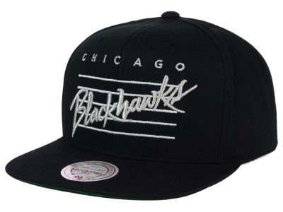 Chicago Blackhawks Mitchell and Ness NHL Cursive Script Cotton Snapback Cap