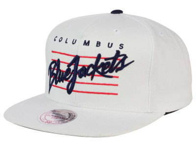Columbus Blue Jackets Mitchell and Ness NHL Cursive Script Cotton Snapback Cap