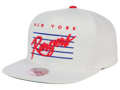 New York Rangers Mitchell and Ness NHL Cursive Script Cotton Snapback Cap