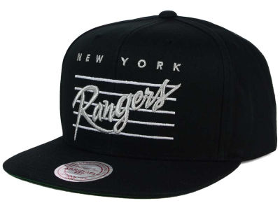 New York Rangers Mitchell & Ness NHL Cursive Script Cotton Snapback Cap
