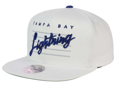 Tampa Bay Lightning Mitchell and Ness NHL Cursive Script Cotton Snapback Cap