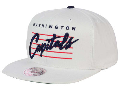 Washington Capitals Mitchell and Ness NHL Cursive Script Cotton Snapback Cap