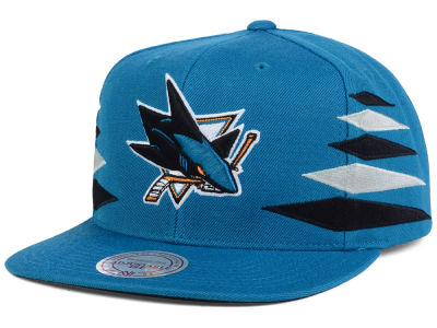 San Jose Sharks Mitchell and Ness NHL Solid Diamond Snapback Cap