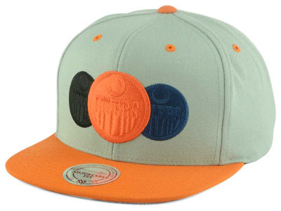 Edmonton Oilers Mitchell and Ness NHL Triple Color Stack Snapback Cap