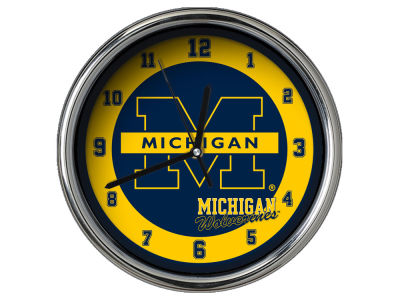 Michigan Wolverines Chrome Clock II