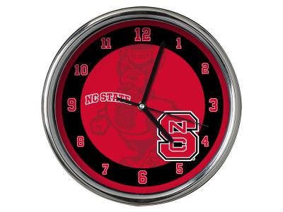 North Carolina State Wolfpack Chrome Clock II