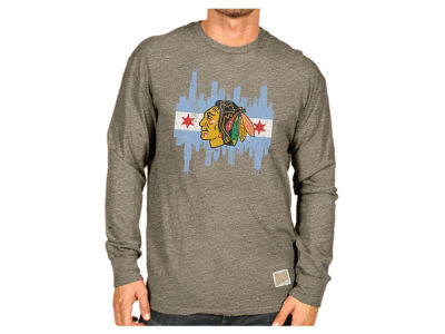 Chicago Blackhawks NHL Men's Streeky Triblend Long Sleeve T-Shirt