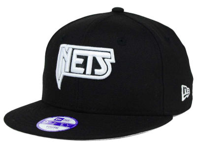 New Jersey Nets New Era NBA HWC Youth Black White 9FIFTY Snapback Cap