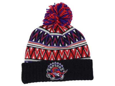 Toronto Raptors Mitchell and Ness NBA Tribal HI 5 Pom Beanie