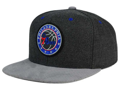 Philadelphia 76ers Mitchell & Ness NBA Cation Perforated Suede Snapback Cap