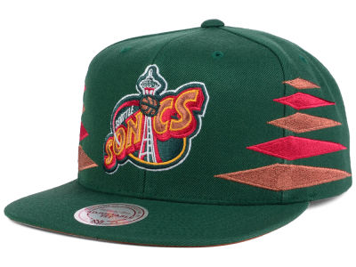 Seattle SuperSonics Mitchell and Ness NBA Solid Diamond Snapback Cap