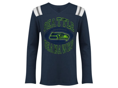 Seattle Seahawks 5th & Ocean NFL Youth Girls Football Foil Long Sleeve T-Shirt