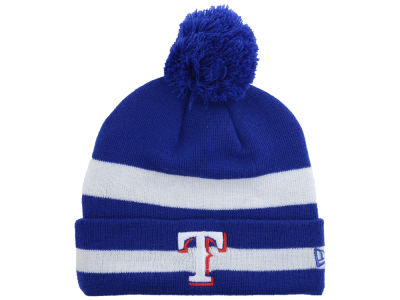 Texas Rangers New Era MLB 2 Tone Striped Pom Knit