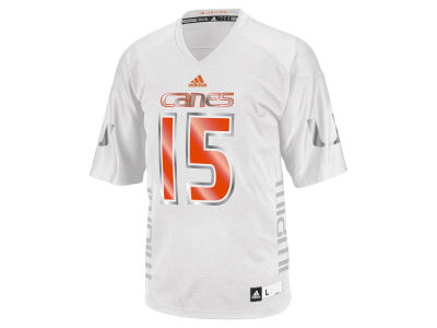 Miami Hurricanes #15 adidas NCAA Men's White Ice Game Jersey