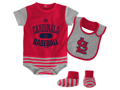 St. Louis Cardinals Majestic MLB Newborn Baseball Property Bib & Booties Set