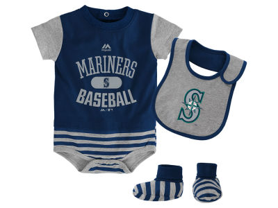 Seattle Mariners Majestic MLB Newborn Baseball Property Bib & Booties Set
