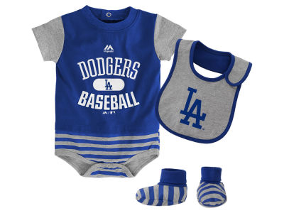 Los Angeles Dodgers Majestic MLB Newborn Baseball Property Bib & Booties Set