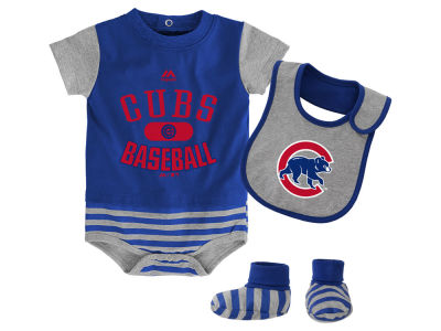 Chicago Cubs Majestic MLB Newborn Baseball Property Bib & Booties Set