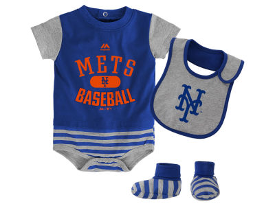 New York Mets Majestic MLB Newborn Baseball Property Bib & Booties Set