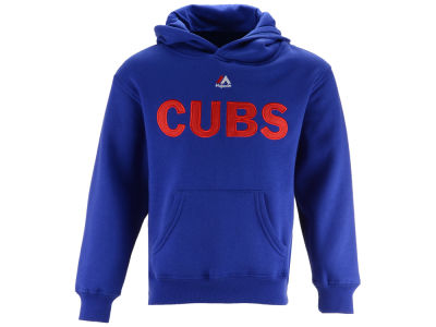 Chicago Cubs Majestic MLB Kids Wordmark Fleece Hoodie