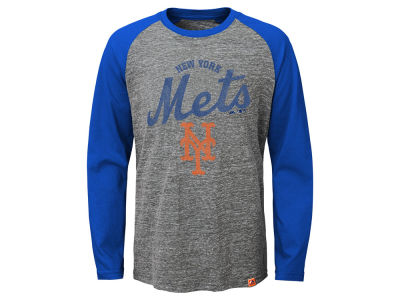 New York Mets MLB Youth Fast Win Raglan Long Sleeve T-Shirt
