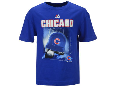 Chicago Cubs Majestic MLB Youth Kinetic Helmet T-Shirt