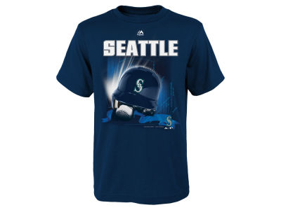 Seattle Mariners Majestic MLB Youth Kinetic Helmet T-Shirt