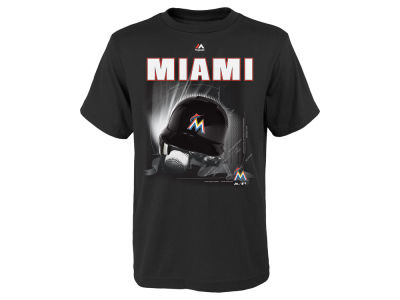 Miami Marlins Majestic MLB Youth Kinetic Helmet T-Shirt