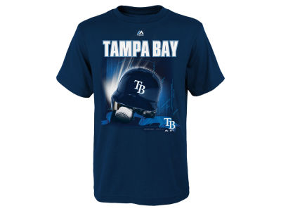 Tampa Bay Rays Majestic MLB Youth Kinetic Helmet T-Shirt