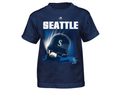 Seattle Mariners Majestic MLB Toddler Kinetic Helmet T-Shirt