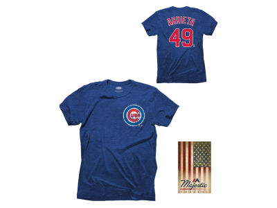 Chicago Cubs Jake Arrieta Majestic MLB Men's Triblend Jersey Player T-Shirt