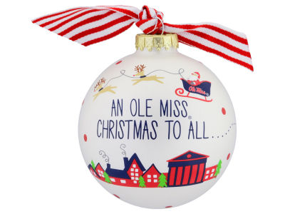 Ole Miss Rebels Fan Glass Ornament
