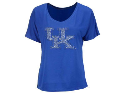 Kentucky Wildcats NCAA Women's Rhinestud Logo Christy Scoop Neck T-Shirt