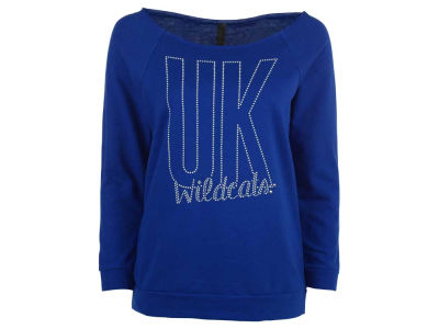 Kentucky Wildcats NCAA Women's Rhinestud Logo Raw Edge Raglan Long Sleeve T-Shirt