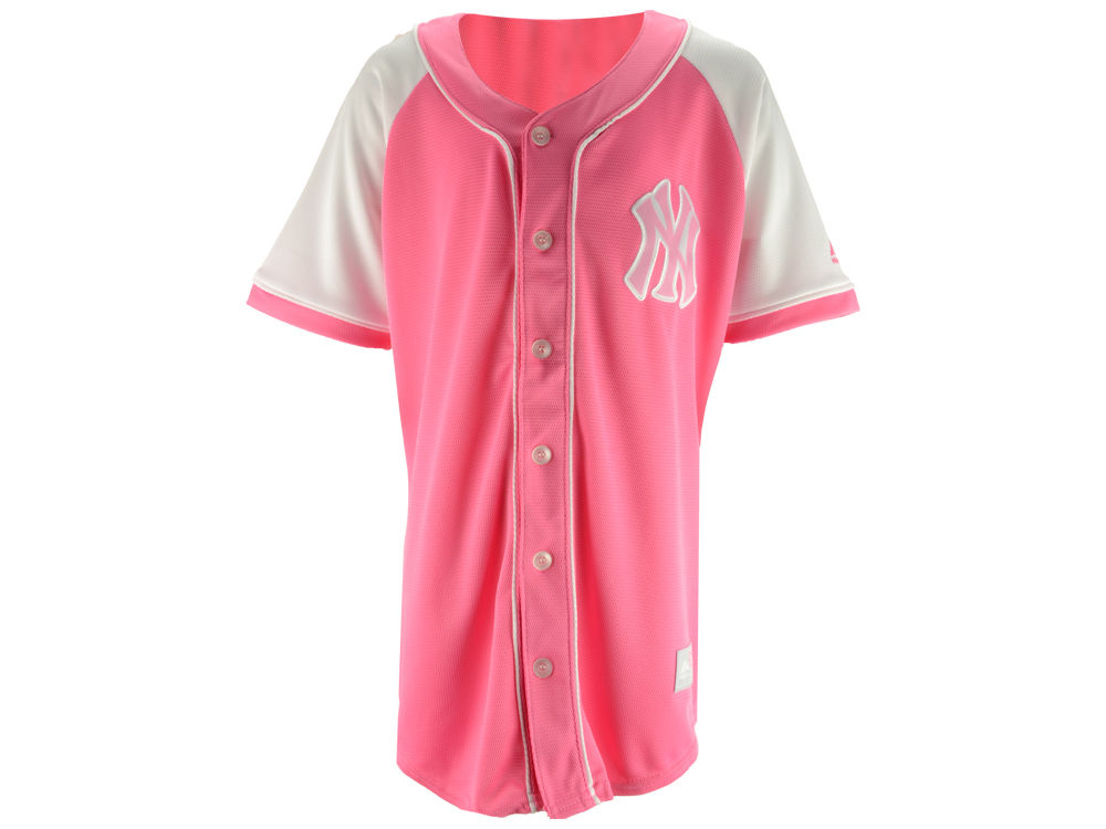 New York Yankees Majestic MLB Youth Girls Pink Fashion Jersey  26274243a6b