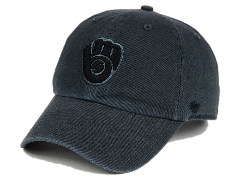 huge discount 45b99 ffdaf ... wholesale milwaukee brewers 47 mlb charcoal black 47 clean up cap lids  36854 74d2b