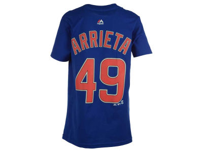 Chicago Cubs Jake Arrieta Majestic MLB Youth Official Player T-Shirt