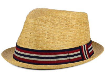 LIDS Private Label Pattern Straw Rocky with Striped Band Fedora