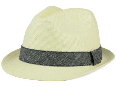 LIDS Private Label White Paper Straw Fedora